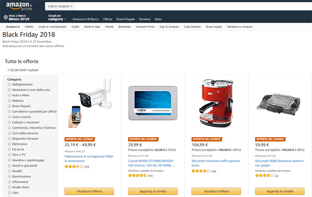Amazon: il black friday sarà il 23 novembre