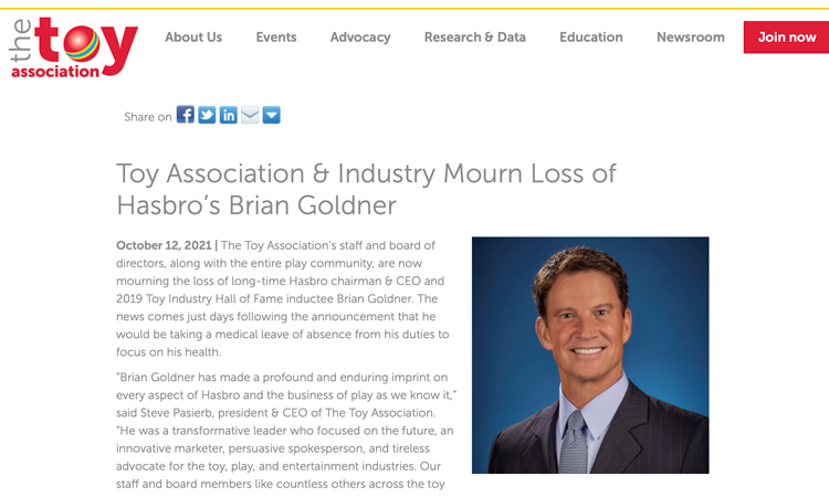 The Toy Association e l'industria salutano Brian Goldner